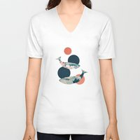 polka dots V-neck T-shirts featuring Whales and Polka Dots by Paula Belle Flores