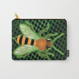 Radiactive Bee over Futuristic Beehive Carry-All Pouch