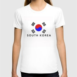 South Korea country flag name text T-shirt