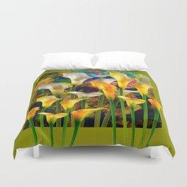 Ivory & Golden  Color Calla Lilies Avocado Art Duvet Cover