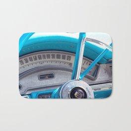 The blue steering wheel Bath Mat