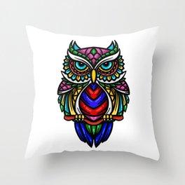 colorful owl halloween Throw Pillow
