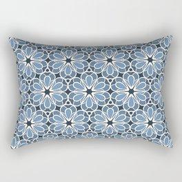 Symmetrical Flower Pattern in Blue Rectangular Pillow