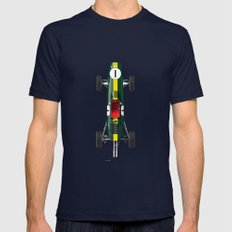 Outline Series N.º1, Jim Clark, Lotus 25-Coventry Climax 1962 Navy Mens Fitted Tee LARGE