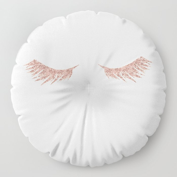 Pretty Lashes Rose Gold Glitter Pink Floor Pillow