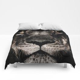 Dark Lion Head Closeup Comforters