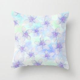 purple pastel flowers Throw Pillow