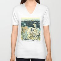 cycling V-neck T-shirts featuring Cycling in the Deep by Dushan Milic