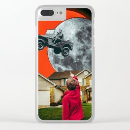 The SUV Jumped Over My Room #analog #collage #collageart Clear iPhone Case