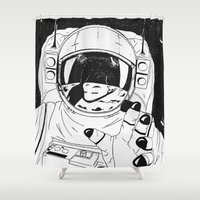 tom hiddleston Shower Curtains featuring Major Tom by Diego L.D.