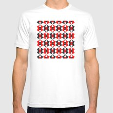 Red hexagon pattern Mens Fitted Tee MEDIUM White