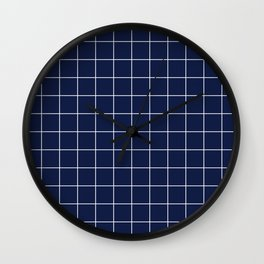 Navy Blue Grid Lines Minimal Wall Clock