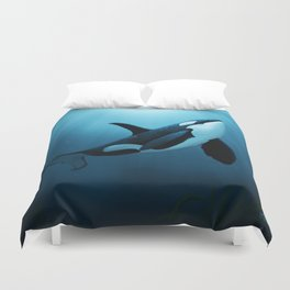 """The Dreamer"" by Amber Marine ~ Orca / Killer Whale Art, (Copyright 2015) Duvet Cover"
