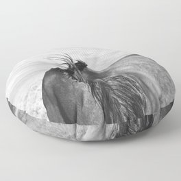 Horse Back in Black and White Floor Pillow