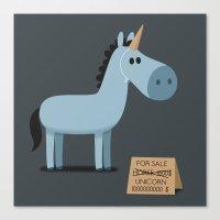 unicorn Canvas Prints featuring Unicorn by Jean-Sébastien  Deheeger