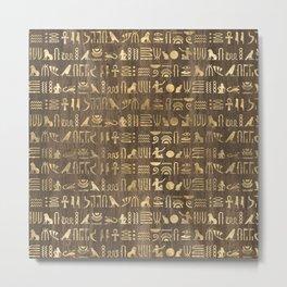 Brown & Gold Ancient Egyptian Hieroglyphic Script Metal Print