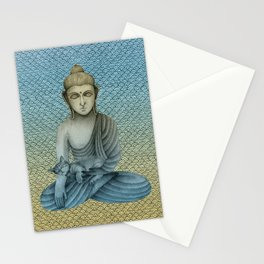Buddha with cat 4 Stationery Cards