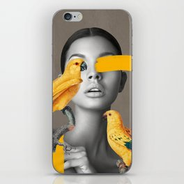 Girl with Parrots iPhone Skin