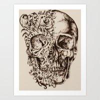 skeleton Art Prints featuring Skeleton by ViviRajski