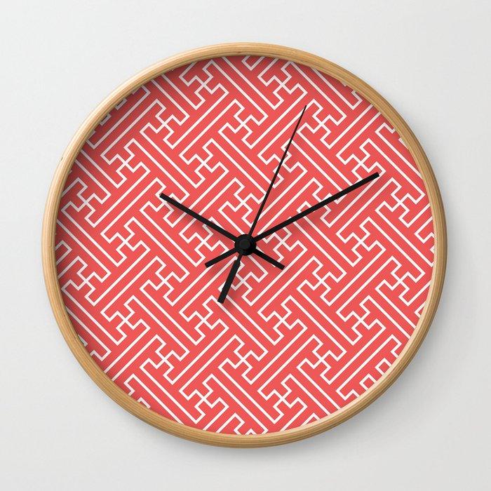 Lattice - Coral Wall Clock