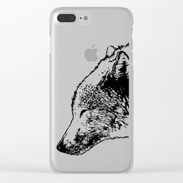Timber wolf, black ink. Clear iPhone Case
