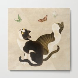 Minhwa: cats & butterflies (Korean traditional/folk art)  Metal Print