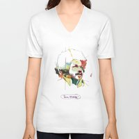 tim shumate V-neck T-shirts featuring Tim Maia by Carlos Quiterio