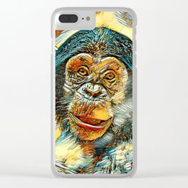 AnimalArt_Chimpanzee_20170602_by_JAMColorsSpecial Clear iPhone Case