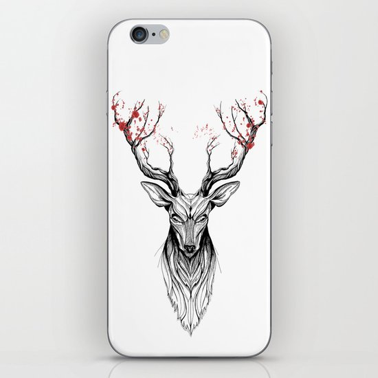 Deer tree (black stroke version for t-shirts) iPhone & iPod Skin