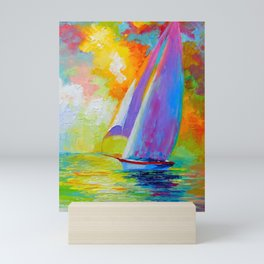 Sailboat in the sea Mini Art Print
