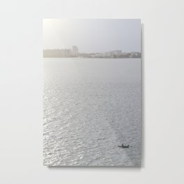 Lonely Boat in Key Biscayne, Miami, With the City as Background Metal Print