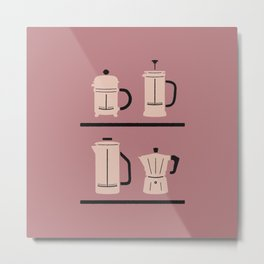 Volturno & French Press Coffee #4 dusty & vintage pink Metal Print