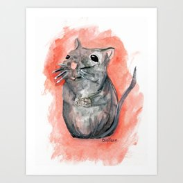 Hoping - Little Watercolor Mouse Art Print