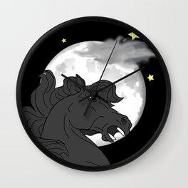 Horse and full moon Wall Clock