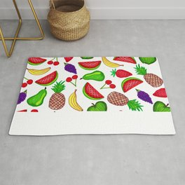 Tutti Fruity Hand Drawn Summer Mixed Fruit Rug