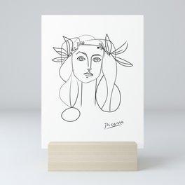 Woman portrait abstract minimal contemporary line art Mini Art Print