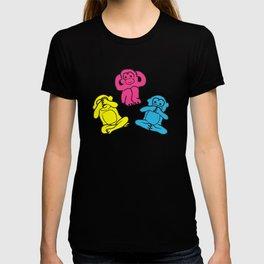 Pink, yellow and blue pattern monkey T-shirt