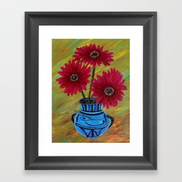 Blue vase with flowers/ still life  Framed Art Print