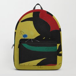 Joan Miro Vol Doiseaux, 1968, Flight of Birds Encircling the 3 Haired Woman on a Moon, Artwork, Prin Backpack