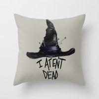 discworld Throw Pillows featuring Granny by Atalanta Run