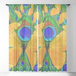 FLUTTERING YELLOW SPRING BUTTERFLIES ON GREEN Sheer Curtain