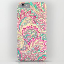 Pink Turquoise Girly Chic Floral Paisley Pattern iPhone Case