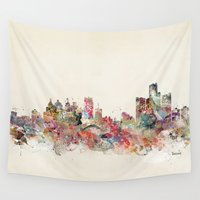 detroit Wall Tapestries featuring detroit michigan skyline by bri.buckley