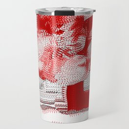 Red and White Woven Flower Pattern Travel Mug
