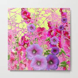 CONTEMPORARY PINK & LILAC HOLLYHOCKS ART Metal Print