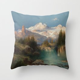 Snow-capped Rocky Mountains landscape painting by Thomas Moran Throw Pillow