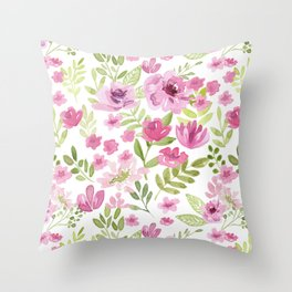 Watercolor/Ink Sweet Pink Floral Painting Throw Pillow