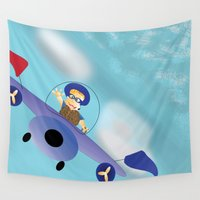 plane Wall Tapestries featuring Flying Plane  by Gloria Larravide