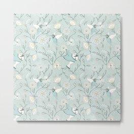 Honey Birds Chinoiserie Floral Metal Print