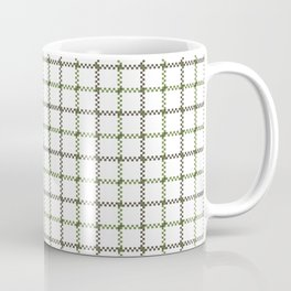 Fern Green & Sludge Grey Tattersall on White Background Coffee Mug